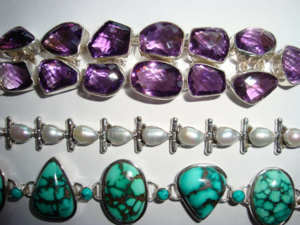 silver jewellery with semi-precious stones