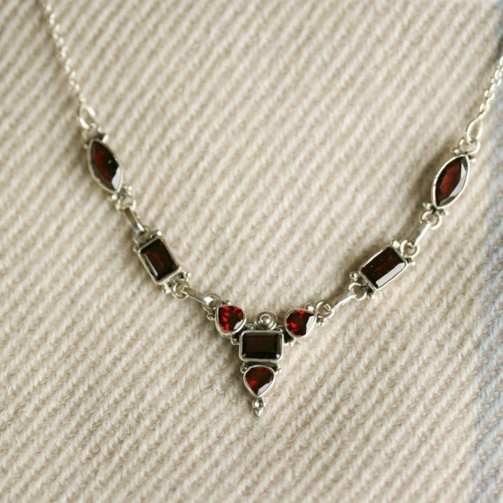 Luxurious Garnet Silver Necklace - Claire Hartley Silver Jewellery