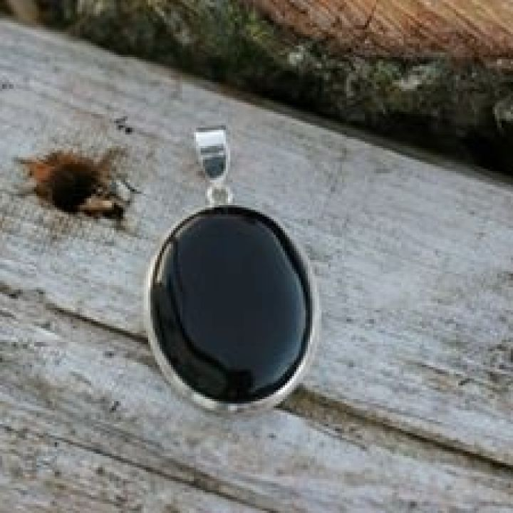 Oval Onyx Silver Pendant - Oval Silver Pendant
