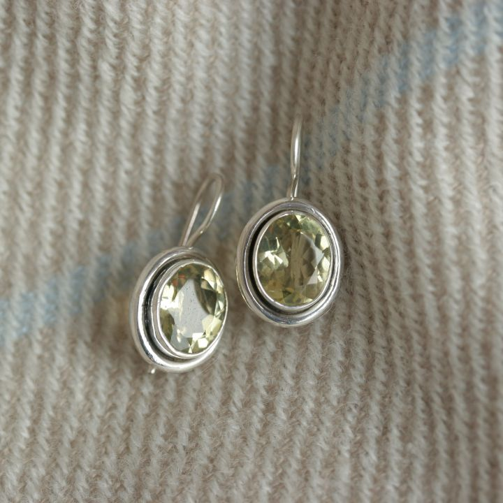 Lemon Topaz Oval Silver Earrings - Topaz Silver Jewelry