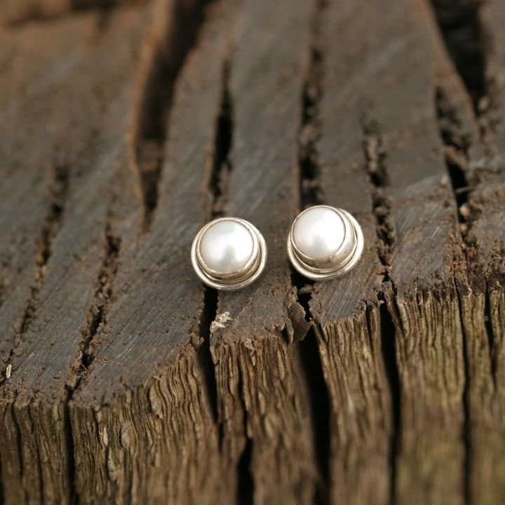 Classic Round Pearl Silver Studs - Pearl Silver Jewelry