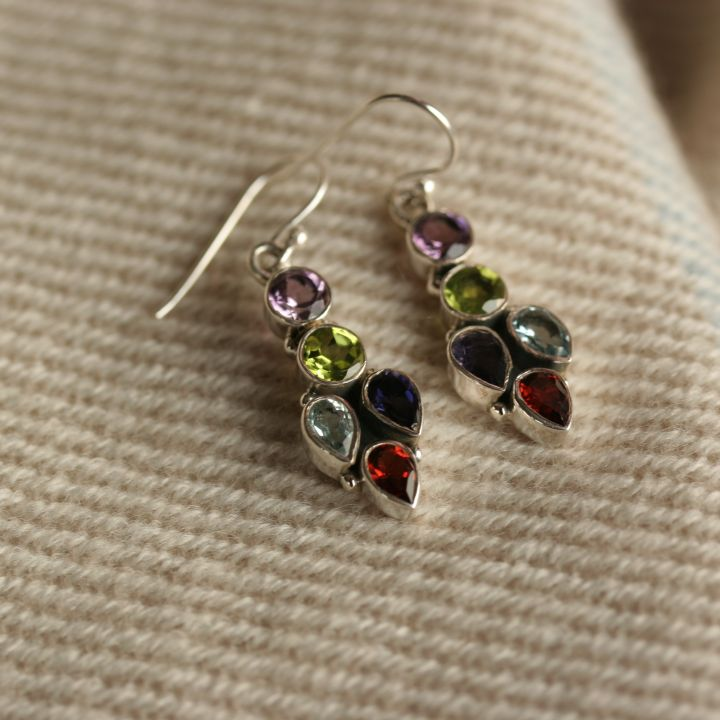 Mixed Stone and Silver Earrings- silver-jewelry.co.uk