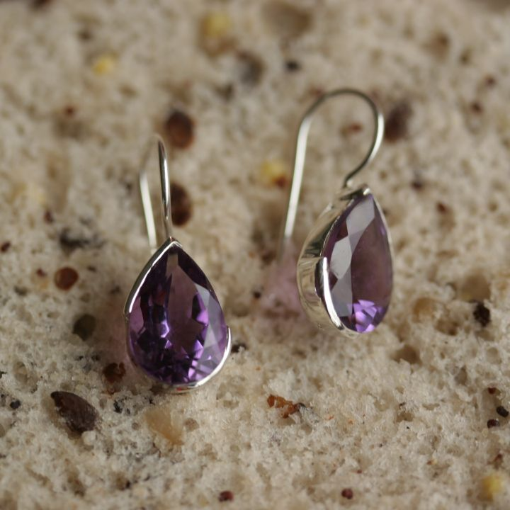 Amethyst Teardrop Silver Earrings - Amethyst Teardrop Earrings