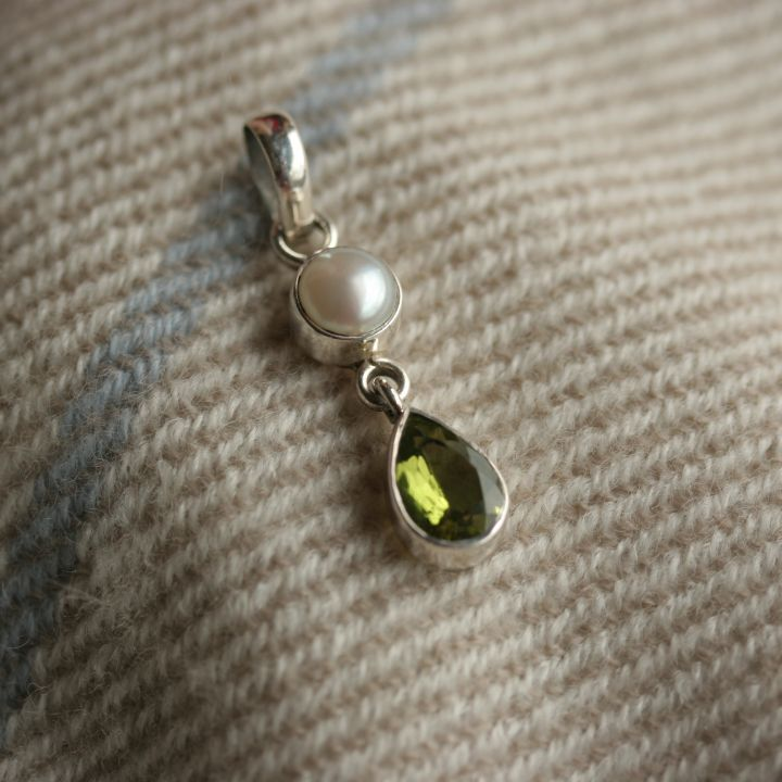 Peridot and Pearl and Silver Pendant