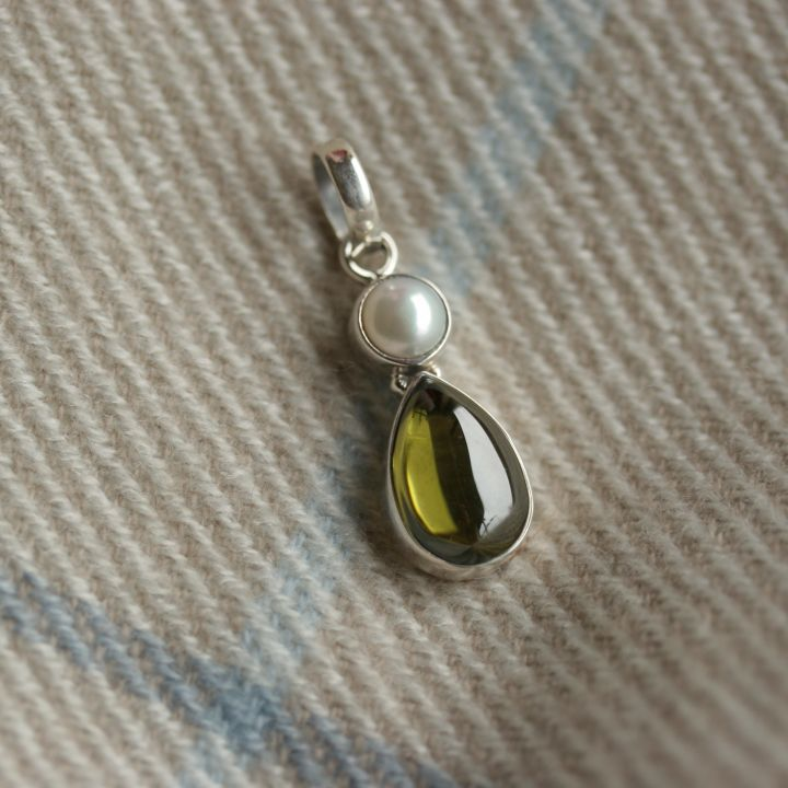 Olive Topaz and Pearl Pendant - Claire Hartley Silver Jewellery