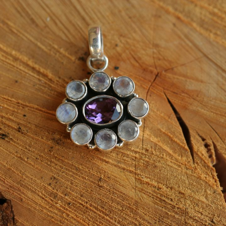 Moonstone and Amethyst Pendant - Silver Jewellery