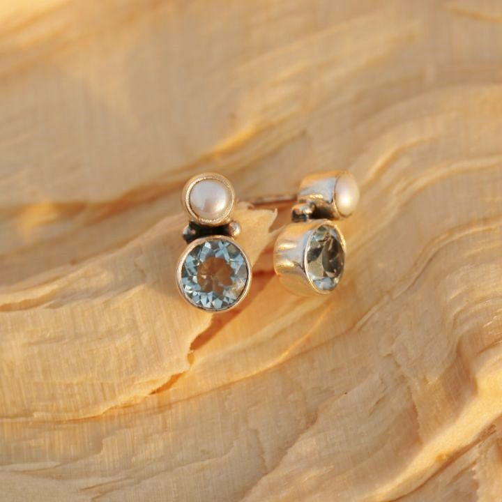 Blue Topaz and Pearl Studs - Silver Jewellery