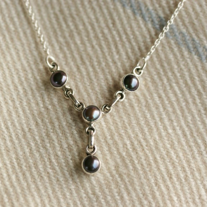 Black Pearl and Silver Necklace- Silver Pearl Jewellery