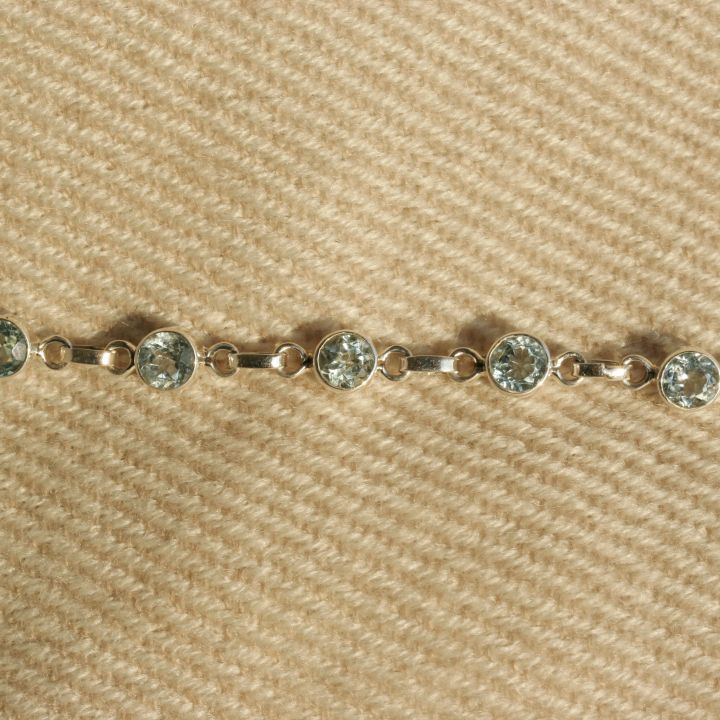 Round Blue Topaz Bracelet - Claire Hartley Silver Jewellery