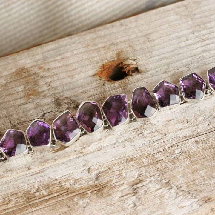 Chunky Amethyst Silver Bracelet - Claire Hartley Silver Jewellery