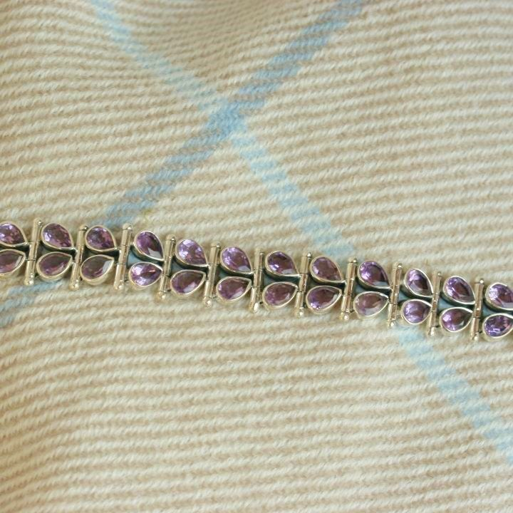Amethyst and Silver Teardrop Bracelet