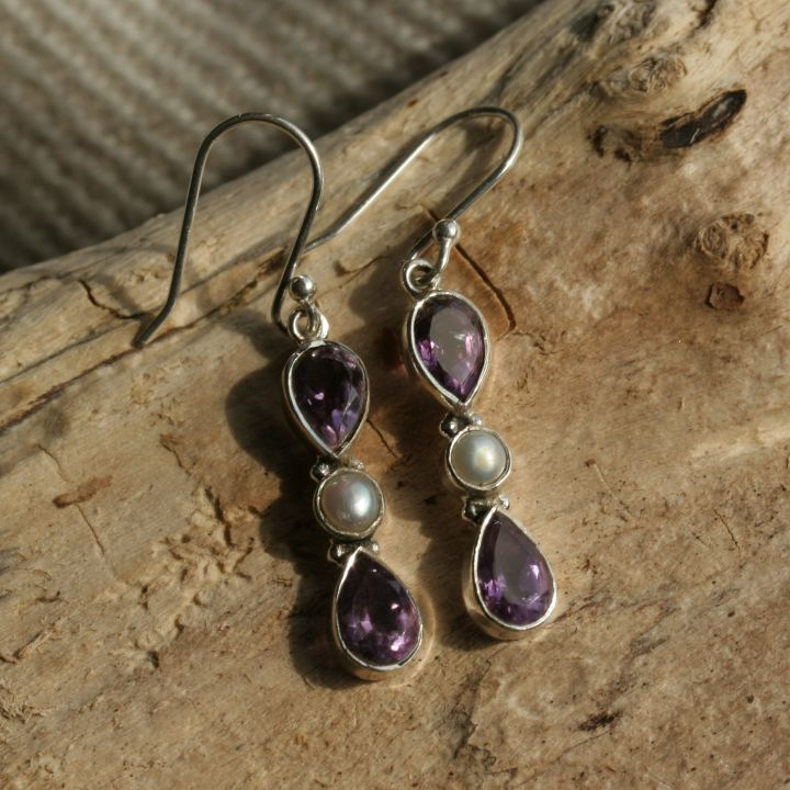Amethyst and Pearl Silver Earrings - Amethyst Silver Earrings
