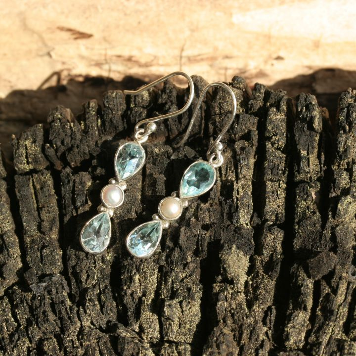 Blue Topaz and Pearl Earrings - Silver Blue Topaz Earrings
