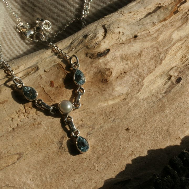 Blue Topaz and Pearl Necklace - Blue Topaz Silver Necklace