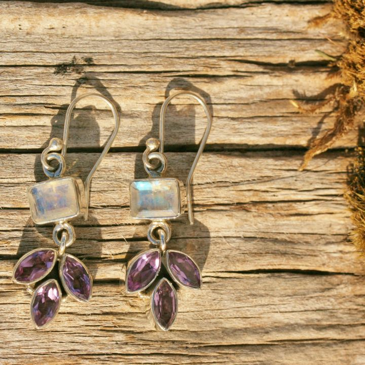Amethyst and Moonstone Earrings - Silver Gemstone Earrings