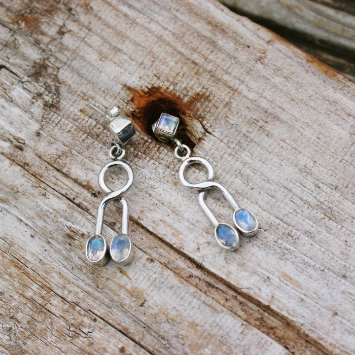 Long Moonstone Studs - Moonstone Silver Studs