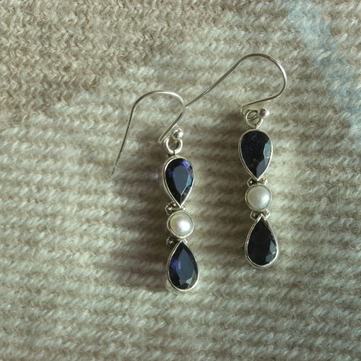 Iolite and Pearl Earrings