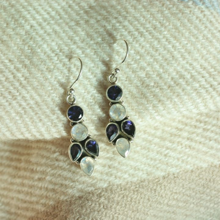 Iolite and Moon Earrings