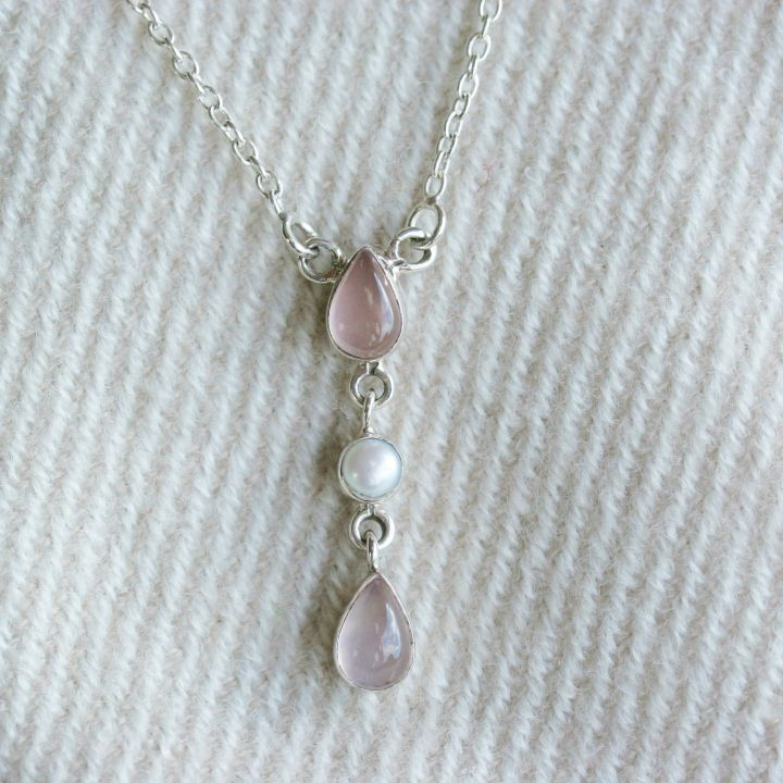 Rose Quartz and Pearl Necklace. Pearl Silver Jewellery