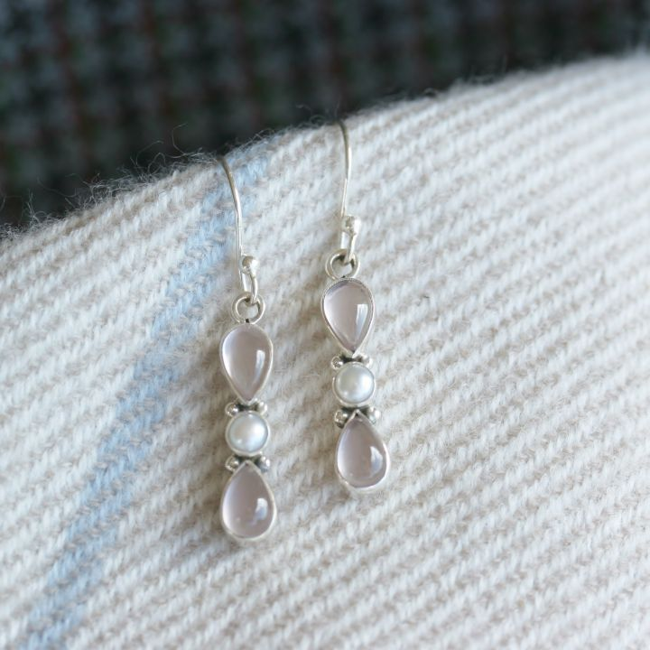 Rose Quartz and Pearl Earring. Rose Quartz Silver Jewellery