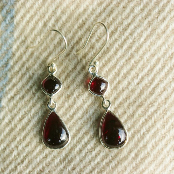 Garnet Silver Earrings. Silver Garnet Jewellery