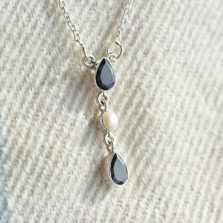 Iolite and Pearl Necklace. Silver Pearl Jewellery