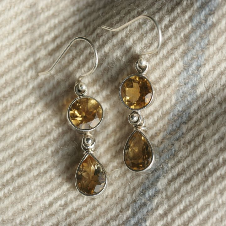 Citrine Silver Earrings. Silver Citrine Jewellery
